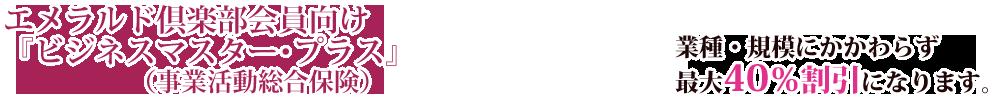 エメラルド倶楽部向け団体割引保険制度「ビジネスマスター・プラス」(事業活動総合保険)